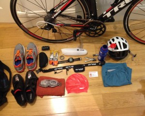 Kit laid out neatly according to my triathlon packing list