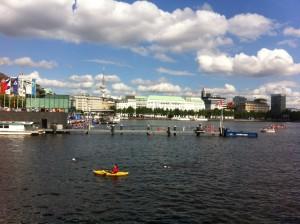 Lining up at the edge of the Binnenalster before the start of the ITU World Triathlon Hamburg