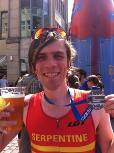 Finishing the ITU World Triathlon Hamburg 2014and the all important alcohol-free beer!