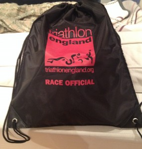 Triathlon Technical Official's kit stored in its kit bag