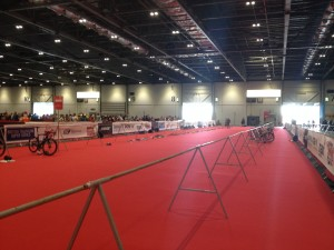 The elite transition area at London Triathlon, while the athletes are on their bikes.