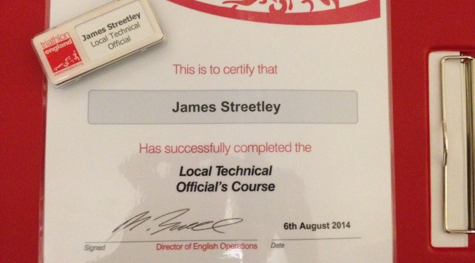 Triathlon technical official's certificate and name badge