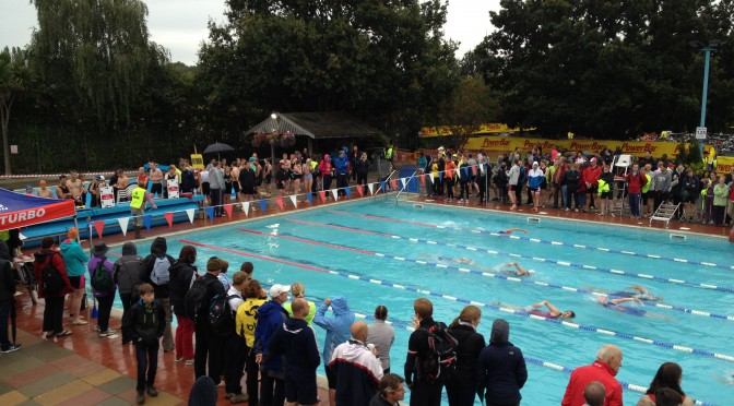 Swimming at the Thames Turbo Sprint Triathlon at Hampton Pool