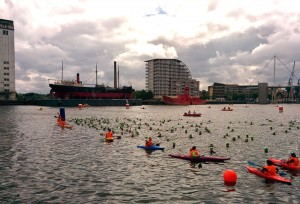 Our wave lining up in the water for the swim start at London Triathlon