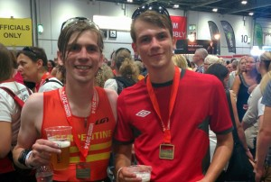 Happy finishers posing after the London Triathlon