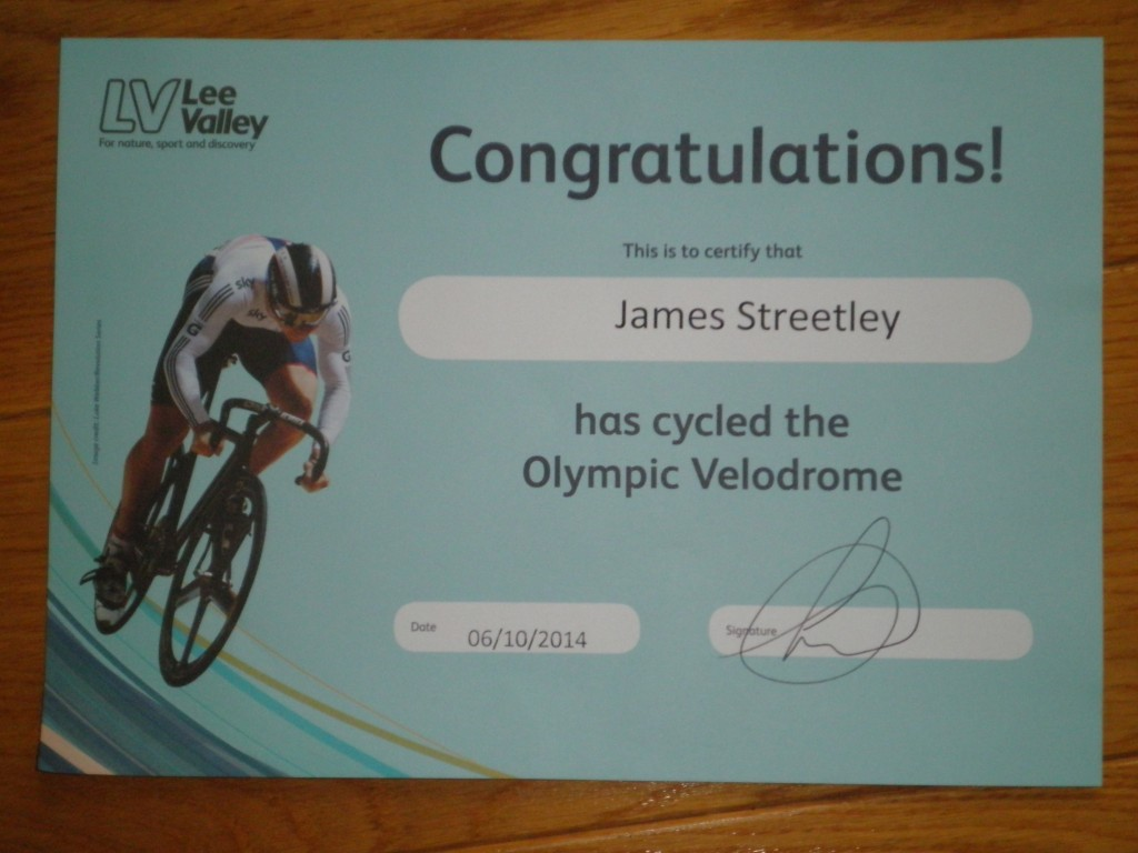 Certificate of Achievement! I did indeed cycle around the London 2012 velodrome!