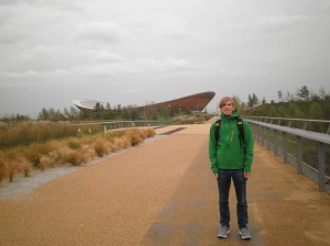 Standing in a slightly wet and windy Olympic Park in front of the London 2012 velodrome