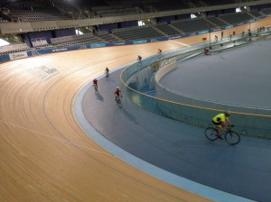 Getting used to our track bikes along the inside of the velodrome track.