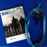 My battered copy of the triathlon rules, along with my Triathlon Scotland whistle and clipboard