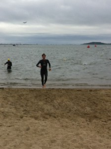 Exiting the swim on Carson Beach at Boston Triathlon