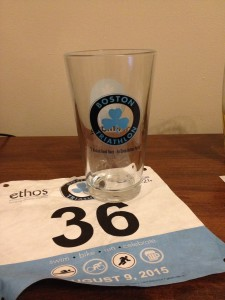 Bib and pint glass from Boston Triathlon