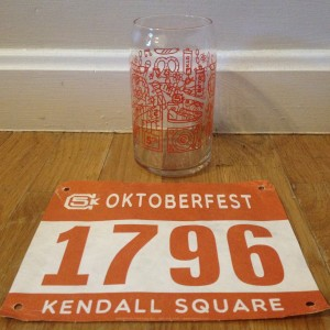 Bib and race glass from Oktoberfest 5k 2015