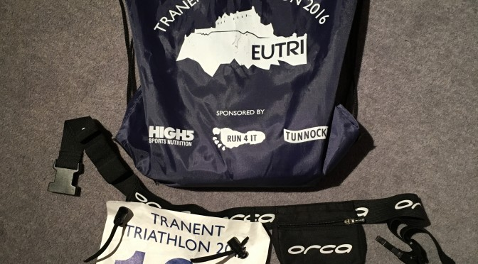 Race number and swag bag at Tranent Sprint.
