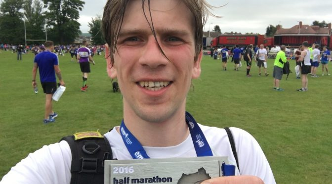 Sweaty selfie with my Edinburgh Half Marathon medal!