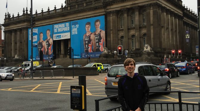 Posing with the huge banners in front of Leeds City Hall ahead of World Triathlon Leeds